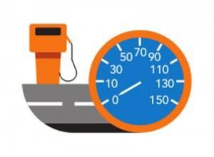 Puesto repostaje gasolina y velocimetro