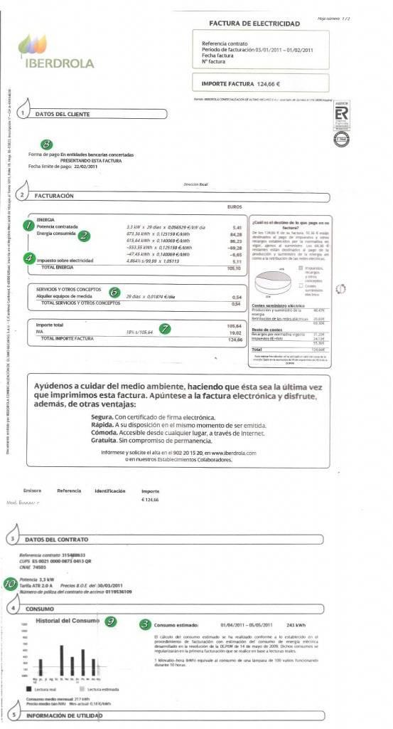 Modelo de factura eléctrica