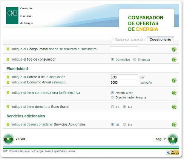 Captura de pantalla comparador ofertas energia CNE