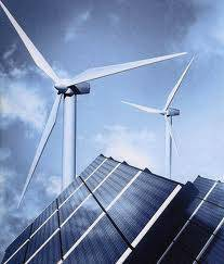 Panel solar y torre eólica