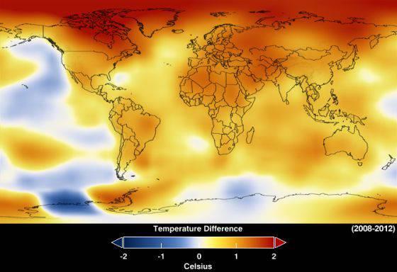 Nuevos datos de la NASA muestran el calentamiento global durante 2012