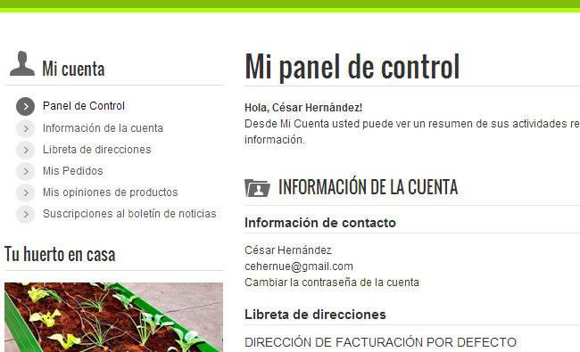 Panel usuario