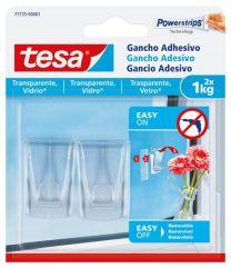 TESA Gancho adhesivo para superficies transparentes y vidrio 1 kg