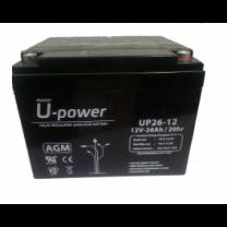 Batería monoblock AGM U-Power 12V 26Ah sin mantenimiento