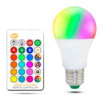Bombilla LED Luxtar A60 E27 10W RGBW con Mando